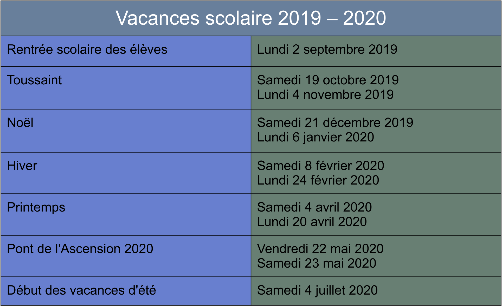 Calendrier Des Vacances Scolaires 2020 2019.Calendrier Des Vacances Scolaires 2019 2020 Fcpe Saint Denis